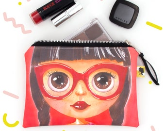 Coated cotton large pouch bag for women