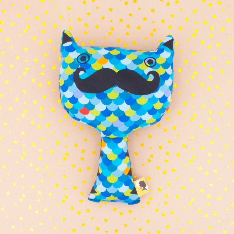Stuffed cat with mustache made with blue scales fabric image 0