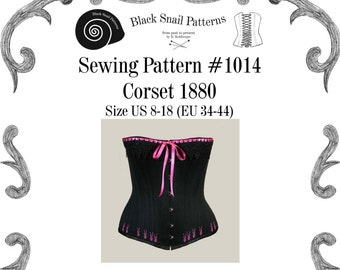 Victorian Corset Sewing Pattern #1014 Size US 8-30 (EU 34-56) Pdf Download