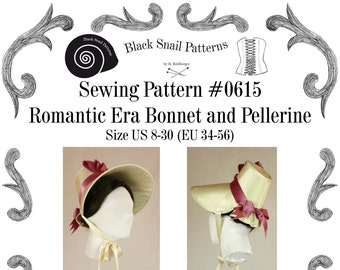 Romantic Era 1830 Bonnet and Pelerine Sewing Pattern #0615 PDF Download