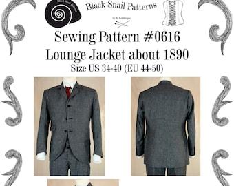 Edwardian Lounge Jacket about 1890 Sewing Pattern #0616 Size US 34-48 (EU 44-58) Pdf Download