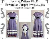 Edwardian Jumper Dress about 1905 Sewing Pattern 0117 Size US 8-30 (EU 34-56) PDF Download