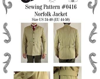 Mens Norfolk Jacket Sewing Pattern #0416 Size US 34-48 (EU 44-58) Pdf Download