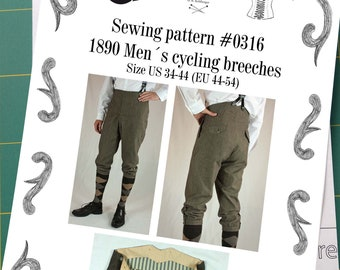 Victorian Edwardian Mens Cycling Breeches about 1890 Sewing Pattern #0316 Size US 34-56 (EU 44-66) Printed Pattern