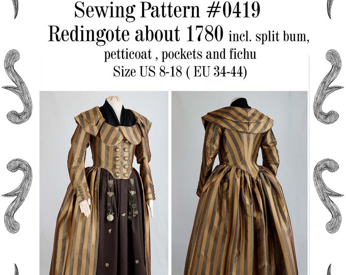 Featured listing image: Redingote or Georgian dress about 1780 incl. split-bum, pockets and fichu Sewing Pattern #0419 Size US 8-30 (EU 34-56) PDF Download