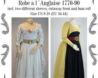 Robe a la Anglaise 1770-90 incl. two different sleeves, cutaway front and bum roll Sewing Pattern #0519 Size US 8-30 (EU 34-56) PDF Download