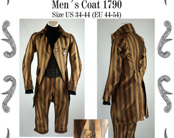 Georgian Mens Coat about 1790 Sewing Pattern #0619 Size US 34-56 (EU 44-66) PDF Download