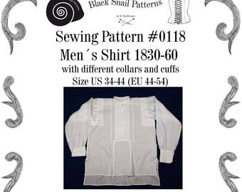 Mens Shirt and Stock Collar 1830-60 Sewing Pattern #0118 Size US 34-56 (EU 44-66) PDF Download