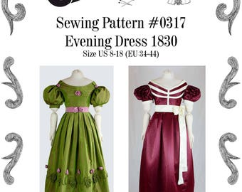 Biedermeier Evening Dress about 1830 Sewing Pattern #0317 Size US 8-30 (EU 34-56) PDF Download