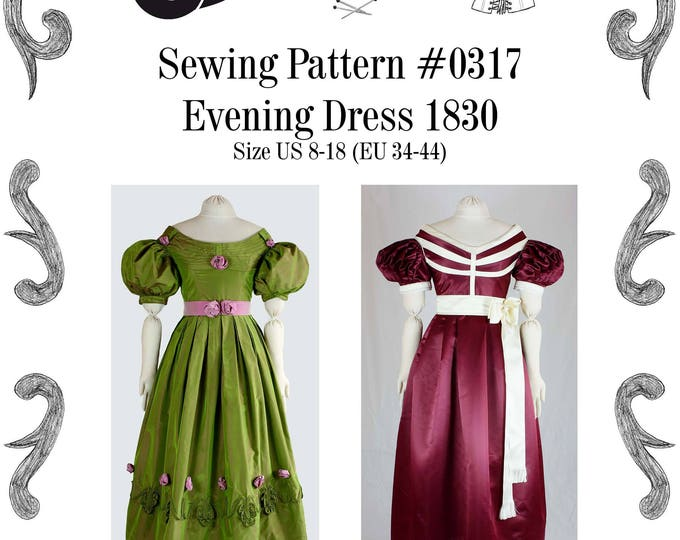 Featured listing image: Biedermeier Evening Dress about 1830 Sewing Pattern #0317 Size US 8-30 (EU 34-56) PDF Download
