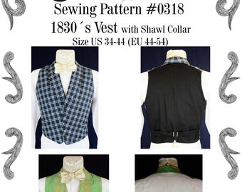 Romantic and Victorian Vest 1830 Sewing Pattern #0318 Size US 34-56 (EU 44-66) PDF Download