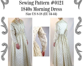 1840s Morning or Working Womans Dress Sewing Pattern #0121 Size US 8-30 (EU 34-56) PDF Download