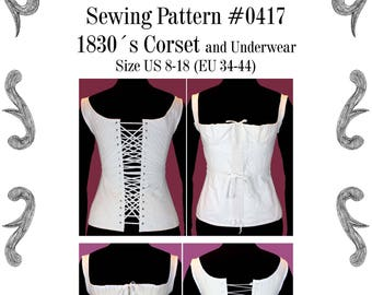 1830s Corset and Underwear Sewing Pattern #0417 Size US 8-30 (EU 34-56) Pdf Download