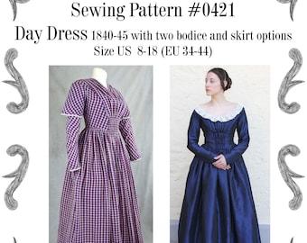 Day Dress 1837-40 Sewing Pattern #0421 Size US 8-30 (EU 34-56) PDF Download