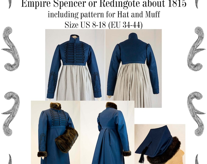 Featured listing image: Empire Spencer or Redingote about 1815 with hat and muff Sewing Pattern #0319 Size US 8-30 (EU 34-56) PDF Download