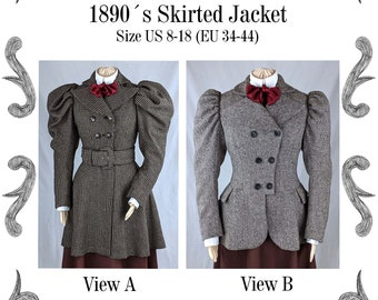 Victorian Skirted Jacket around 1890 with leg-o-mutton sleeves Sewing Pattern #0520 Size US 8-30 (EU 34-56) PDF Download