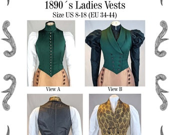 Edwardian Ladies Vests 1890 Sewing Pattern #0220 Size US 8-30 (EU 34-56) PDF Download