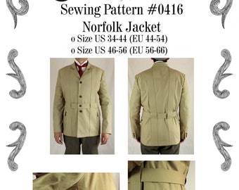 Mens Victorian Edwardian Norfolk Jacket Sewing Pattern #0416 Size US 34-48 (EU 44-58) Pdf Download