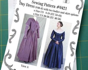 Day Dress 1837-40 Sewing Pattern #0421 Size US 8-30 (EU 34-56) Printed Pattern