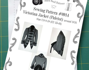Victorian Jacket (Paletot) circa 1876 with stand-up collar Sewing Pattern #0914 Size US 8-30 (EU 34-56) Printed Pattern