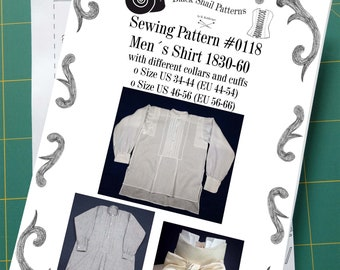 Mens Shirt and Stock Collar 1830-60 Sewing Pattern #0118 Size US 34-56 (EU 44-66) Paper Pattern