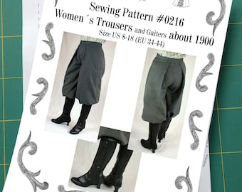 Edwardian Womens Trousers and Gaiters about 1900 #0216 Size US 8-30 (EU 34-56) Printed Pattern