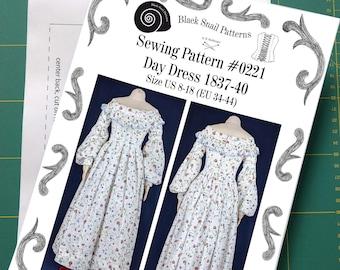 Day Dress 1837-40 Sewing Pattern #0221 Size US 8-30 (EU 34-56) Paper Pattern