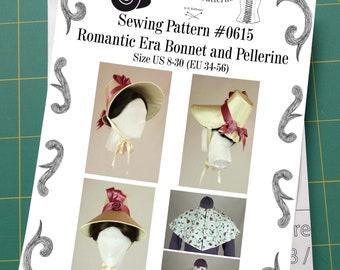 Romantic Era 1830 Bonnet and Pelerine Sewing Pattern #0615 Printed Pattern
