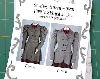 Victorian Skirted Jacket around 1890 with leg-o-mutton sleeves Sewing Pattern #0520 Size US 8-30 (EU 34-56) Paper Pattern