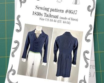 1830 Tailcoat (linen) sewing pattern #0517 Size US 34-56 (EU 44-66) Paper Pattern