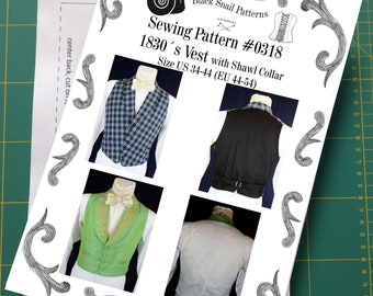 Romantic and Victorian Vest 1830 Sewing Pattern #0318 Size US 34-56 (EU 44-66) Paper Pattern