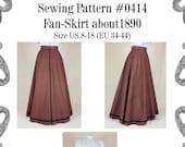 Edwardian Skirt (Fan-Skirt) worn about 1890 Sewing Pattern 0414 Size US 8-30 (EU 34-56) PDF Download
