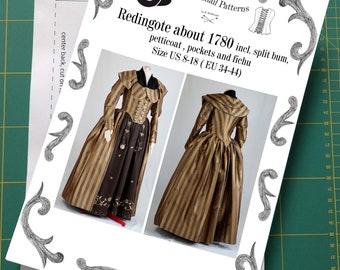 Redingote or Georgian dress about 1780 incl. split-bum, pockets and fichu Sewing Pattern #0419 Size US 8-30 (EU 34-56) Printed Pattern