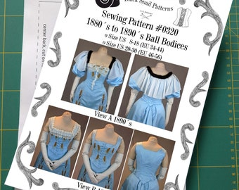 Victorian Ladies Ball Bodices from 1880 to 1900 Sewing Pattern #0320 Size US 8-30 (EU 34-56) Printed Pattern
