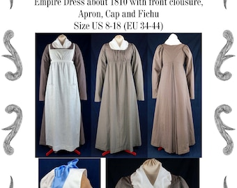 Empire / Regency dress with front clousure, apron, cap and fichu about 1810 Sewing Pattern #0219 Size US 8-30 (EU 34-56) PDF Download