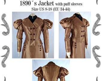 Edwardian Jacket with puff sleeves 1890 Sewing Pattern #0120 Size US 8-30 (EU 34-56) PDF Download