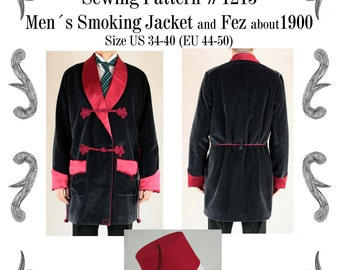 Mens Smoking Jacket and Fez about 1900 Sewing Pattern #1215 Size US 34-56 (EU 44-66) Pdf Download