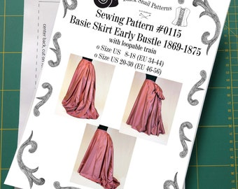 Victorian Basic Skirt, Early Bustle period with a loopable train Sewing Pattern #0115 Size US 8-30 (EU 34-56) Printed Pattern