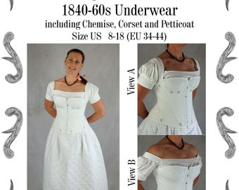 1840s to 60s Underwear, late Romantic, early Victorian, Corset, Chemise, Petticoat Sewing Pattern #0321 Size US 8-30 (EU 34-56) Pdf Download