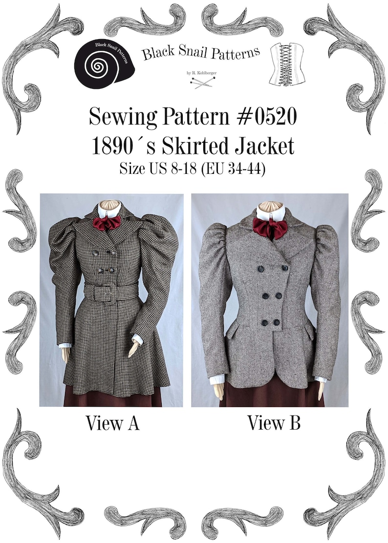 Steampunk Sewing Patterns- Dresses, Coats, Plus Sizes, Men's Patterns Victorian Skirted Jacket around 1890 with leg-o-mutton sleeves Sewing Pattern #0520 Size US 8-30 (EU 34-56) PDF Download $8.68 AT vintagedancer.com