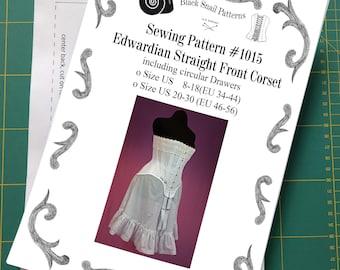 Edwardian Straigth Front Corset Sewing Pattern #1015 Size US 8-30 (EU 34-56) Printed Pattern