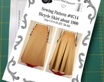 Edwardian Bicycle skirt about 1900 Sewing Pattern #0714  Size US 8-30 (EU 34-56) Printed Pattern