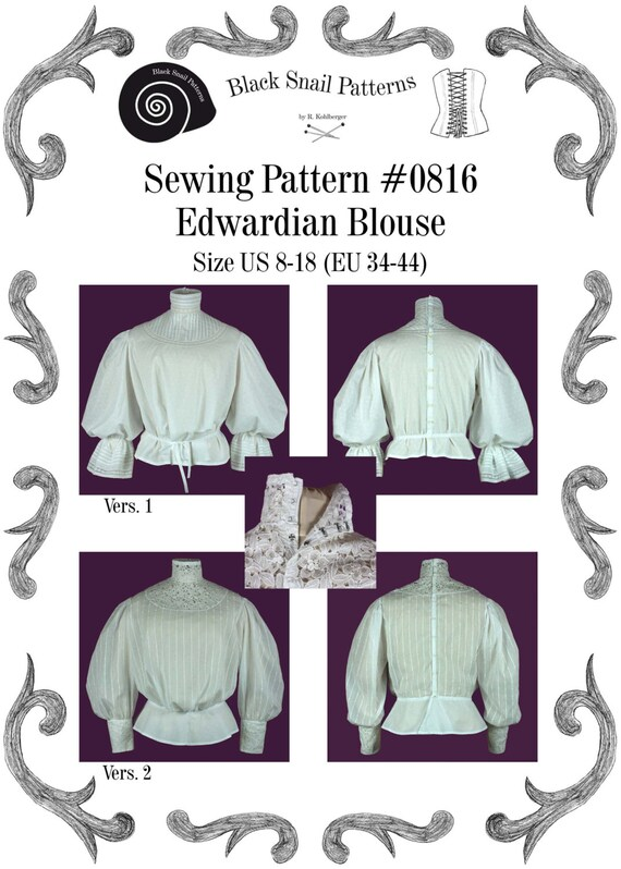 Edwardianische Bluse Schnittmuster 0816 Größe EU 34-56 PDF