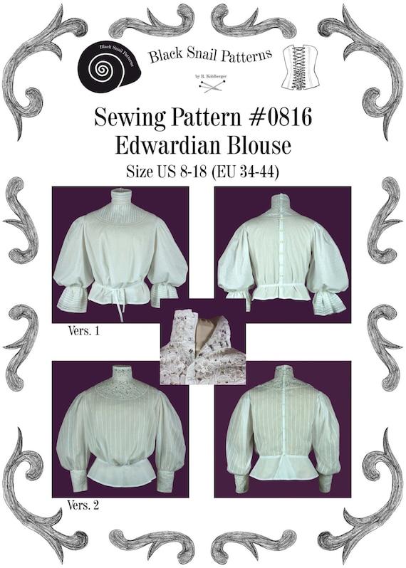 Edwardianische Bluse Schnittmuster 0816 Größe EU 34-56 PDF | Etsy