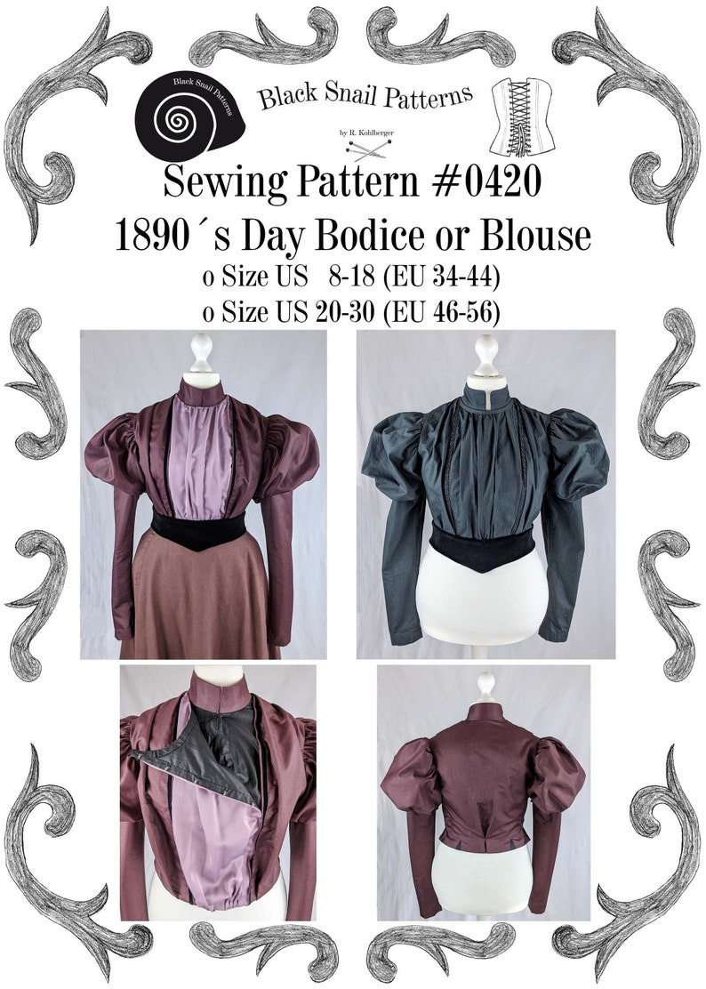 Edwardian Sewing Patterns- Dresses, Skirts, Blouses, Costumes Late Victorian Day Bodice or Blouse around 1890 Sewing Pattern #0420 Size US 8-30 (EU 34-56) PDF Download $8.55 AT vintagedancer.com