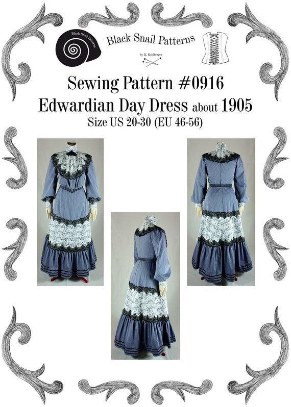 Edwardian Sewing Patterns- Dresses, Skirts, Blouses, Costumes Edwardian Day Dress about 1905 with a Turtleneck Sewing Pattern #0916 Size US 8-30 (EU 34-56) PDF Download $10.85 AT vintagedancer.com