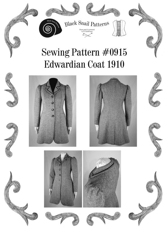 Edwardian Sewing Patterns- Dresses, Skirts, Blouses, Costumes Edwardian Coat 1910 Sewing Pattern #0915 Size US 8-30 (EU 34-56) Pdf Download $9.65 AT vintagedancer.com