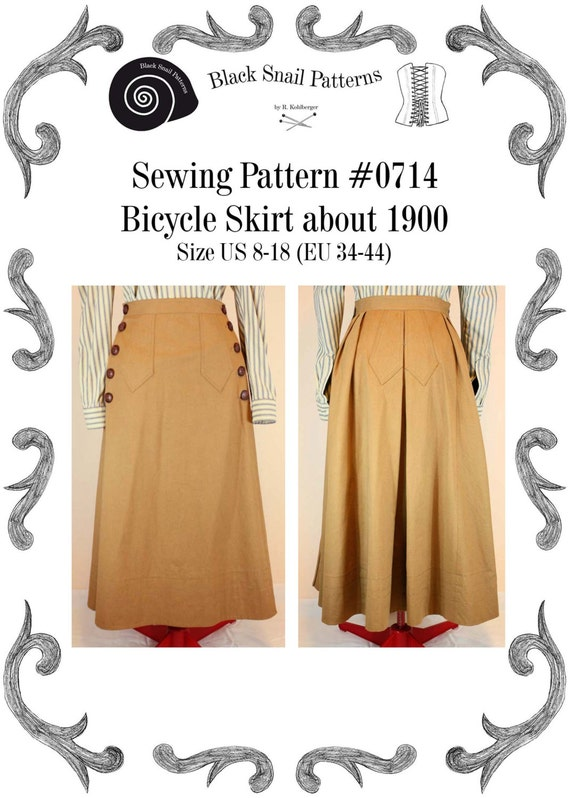 Steampunk Sewing Patterns- Dresses, Coats, Plus Sizes, Men's Patterns 1900 Edwardian Bicycle skirt about 1900 Sewing Pattern $5.98 AT vintagedancer.com