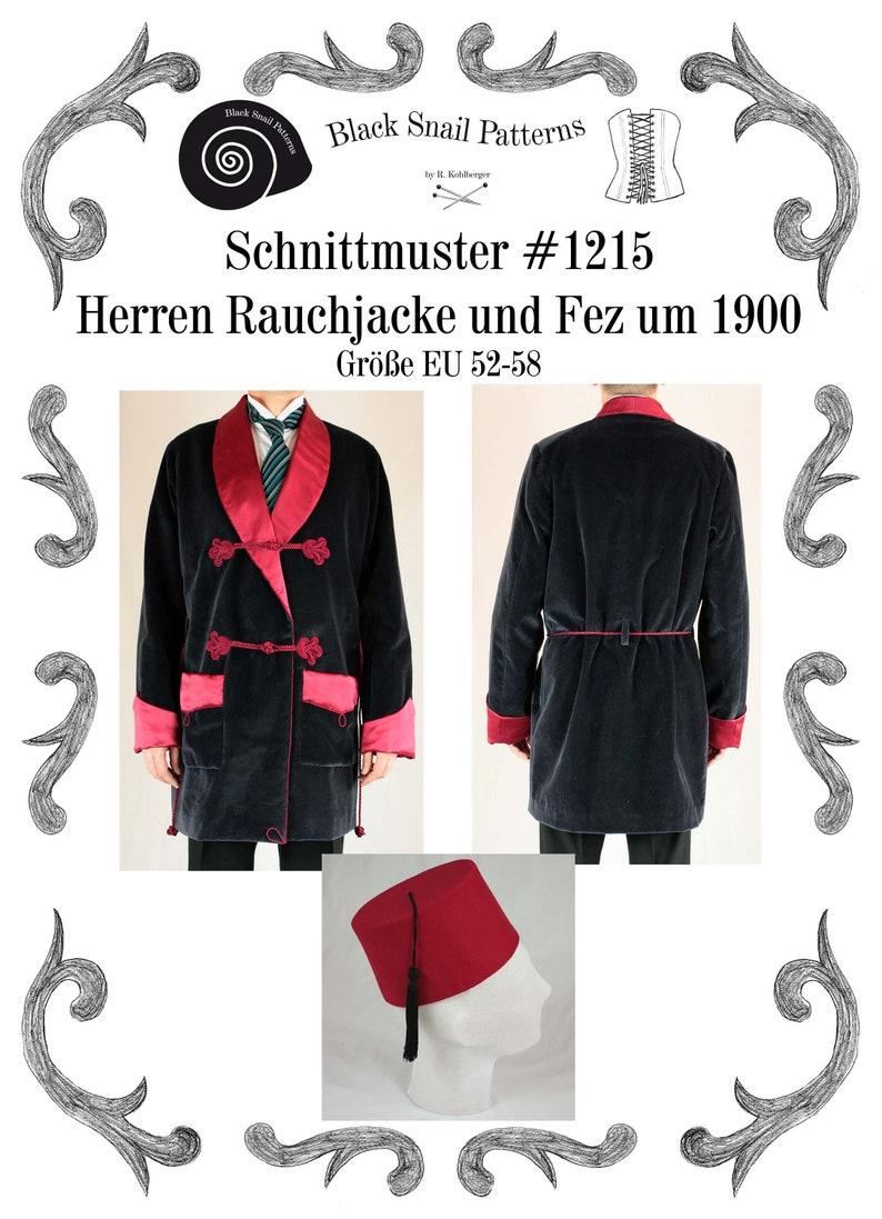 Men's Vintage Reproduction Sewing Patterns Mens Smoking Jacket and Fez about 1900 Sewing Pattern #1215 Size US 34-56 (EU 44-66) Pdf Download  AT vintagedancer.com