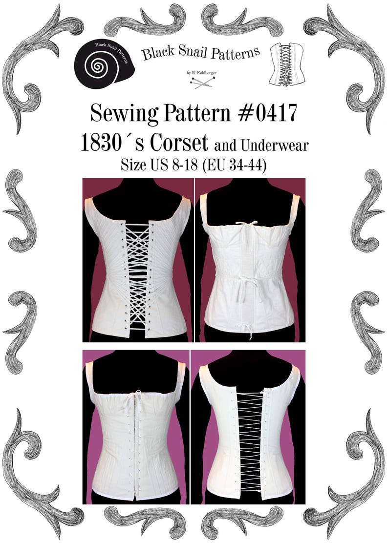 1830s Corset and Underwear Sewing Pattern 0417 Size US 8-30 image 0